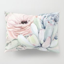 Elegant Blush Pink Succulent Garden by Nature Magick Pillow Sham