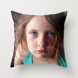 Portrait - the day she was sick and didn't want to smile Throw Pillow