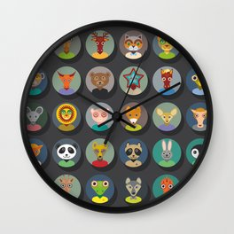 animals faces circle icons set in Trendy Flat Style. zoo Wall Clock