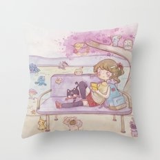 Monsters in the park Throw Pillow