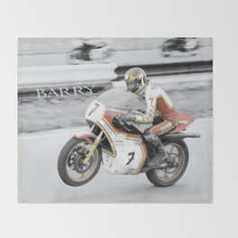 Barry Sheene 2, the hand tinted version Throw Blanket