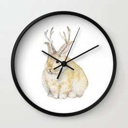 Watercolor Grumpy Jackalope Antler Bunny Wall Clock