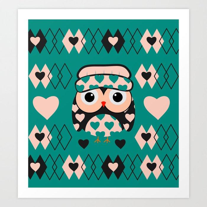 Owl and heart pattern Art Print