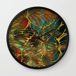 Golden Butterfly Wing Pattern Wall Clock