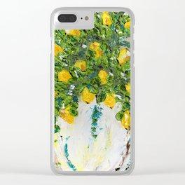 Teal Sundays Clear iPhone Case
