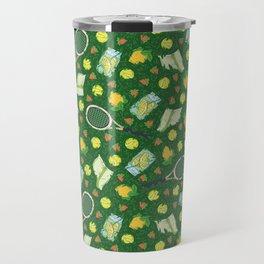 Yellow lemon and ball among tennis rackets and strawberries Travel Mug
