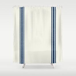 Vintage Country French Grainsack Blue Stripes Cream Background Shower Curtain