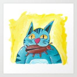 Cat with Big Bug Art Print