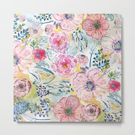 Watercolor hand paint floral design Metal Print