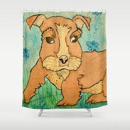 Frank the Puppy Shower Curtain