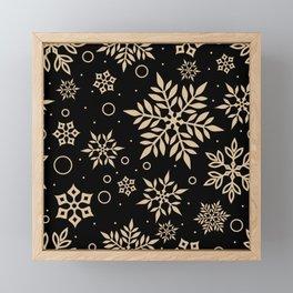 Christmas Winter Snowflake Wallpaper Pattern On Black Framed Mini Art Print