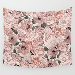 Vintage Floral Allover In Peach Pastels Wall Tapestry