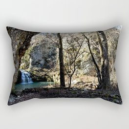 Alone in Secret Hollow with the Caves, Cascades, and Critters - First Glimpse of the Falls Rectangular Pillow