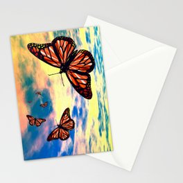 Flying Monarch Butterflies Stationery Cards