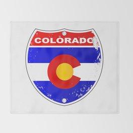 Colorado Interstate Sign Throw Blanket