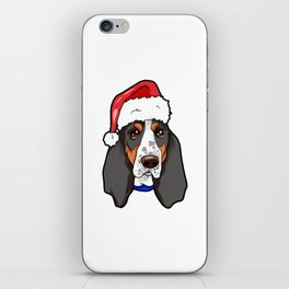 Basset Hound Dog Christmas Hat iPhone Skin