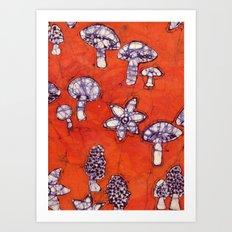 mushroom batik Art Print
