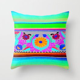 Serape and Flowers Throw Pillow