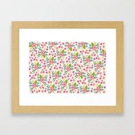 Pink Fuchsia Spring Flower Pattern Framed Art Print