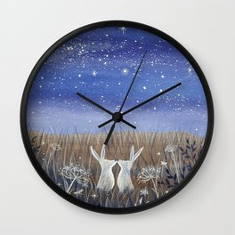 Hares and the Crescent Moon Wall Clock
