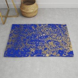 Royal Blue and Gold Patina Design Rug