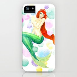mermaid with colorful bubbles iPhone Case