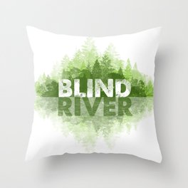 Blind River Trees (green) Throw Pillow