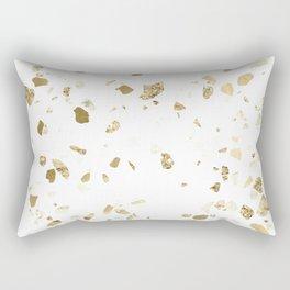 Metallic Gold Terrazzo Sparkle Rectangular Pillow