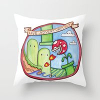 uncharted Throw Pillows featuring Live Adventurously by geeboo