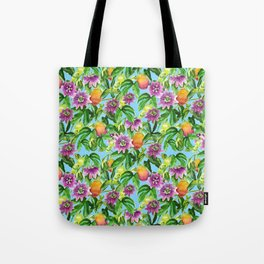 Passiflora vines light blue Tote Bag