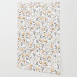 Floral Cats Wallpaper