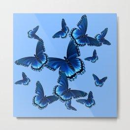 DECORATIVE PATTERNED BLUE on BLUE  BUTTERFLY FLOCK Metal Print