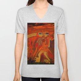 Indigenous Inca Ceremonial Shaman and Firebird portrait painting by Ortega Maila Unisex V-Neck