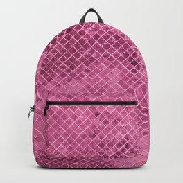 Modern girly pink burgundy geometric faux glitter Backpack