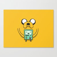 beemo Canvas Prints featuring Jake and BMO by OverClocked