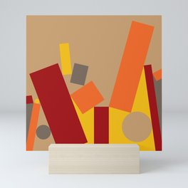 Soft Brown Leaning Shapes Geometric Abstract Mini Art Print