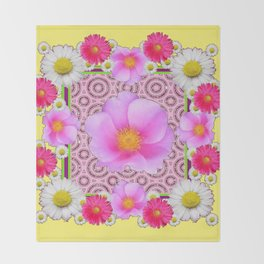 Floral Abundance yellow color fuchsia Shasta Daisy Pink Roses Abstract Ar Throw Blanket