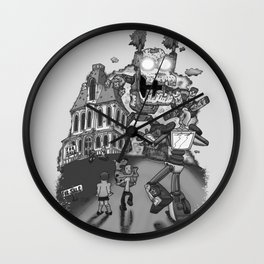 Myterious Machines gray scales Wall Clock