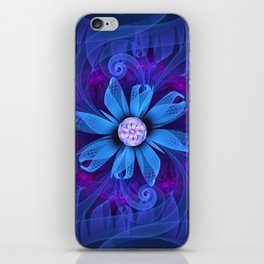 A Snowy Edelweiss Blooming as a Blue Origami Orchid iPhone Skin