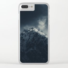 Darkness and storm clouds over mountains Clear iPhone Case