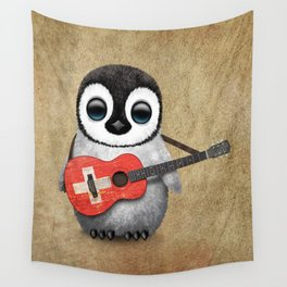 Baby Penguin Playing Swiss Flag Guitar Wall Tapestry