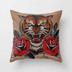Old School Tiger and roses - tattoo Throw Pillow