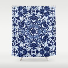 Boho Blue Medallion Shower Curtain