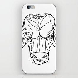 Brahma Bull Head Mosaic Black and White iPhone Skin