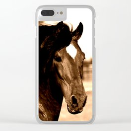 Horse print horse photography equestrian art sepia Poster Clear iPhone Case