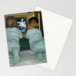Brother and Sister view television in the 1950's Stationery Cards