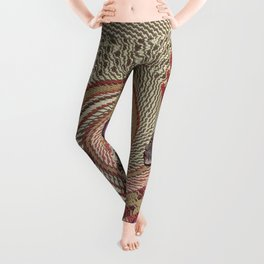 African woman profile on a woven basket Leggings