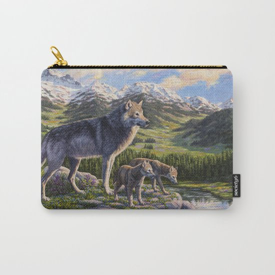 Mother Gray Wolf and Pups River Valley Carry-All Pouch