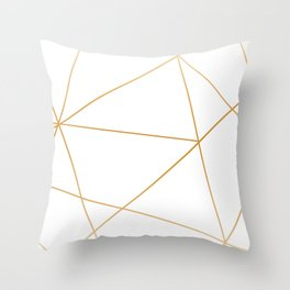 geometric gold and white Throw Pillow