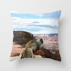 Squirrel Overlooking Grand Canyon Throw Pillow